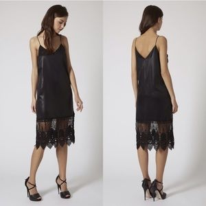 NWT Topshop Wet Look Slip Dress with Lace Panel
